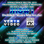 Veria Video In Association With The Colorado School of Dance in Parker, CO presents the Twinkle Stars Showcase as performed on Saturday, June 6, 2015 at 9:00 a.m.
