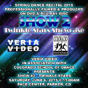 Veria Video In Association With The Colorado School of Dance in Parker, CO presents the Twinkle Stars Showcase as performed on Saturday, June 6, 2015 at 11:00 a.m.