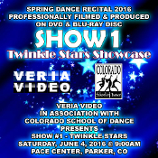 Veria Video In Association With The Colorado School of Dance in Parker, CO presents the Twinkle Stars Showcase as performed on Saturday, June 4, 2016 at 9:00 a.m.