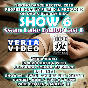 Veria Video In Association With The Colorado School of Dance in Parker, CO presents the Swan Lake Ballet Cast B Showcase as performed on Sunday, June 5, 2016 at 7:00 p.m.